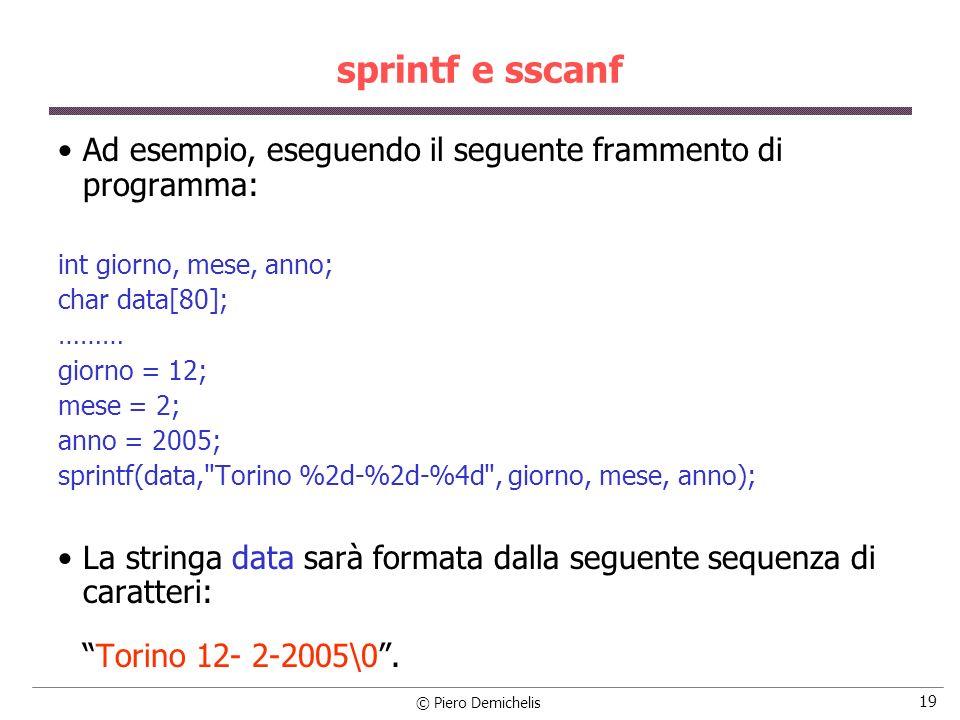 sprintf e sscanfAd esempio, eseguendo il seguente frammento di programma: int giorno, mese, anno; char data[80];